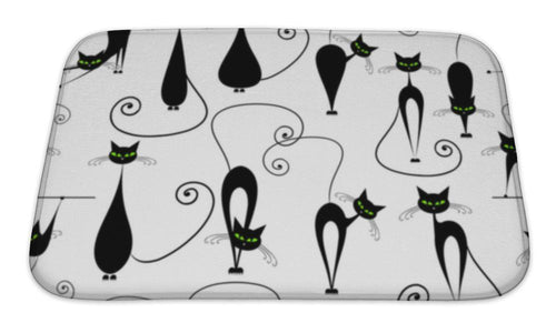 Bath Mat, Black Cats Pattern For Your Design-Bath Mat-Bella's PetStor