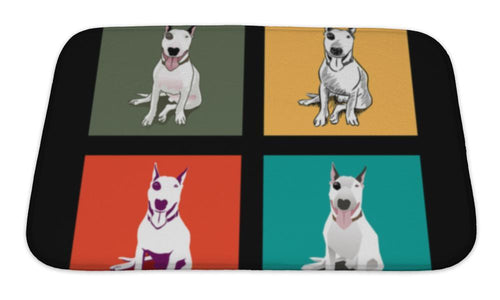 Bath Mat, Bull Terrier Dog Illustration-Bath Mat-Bella's PetStor