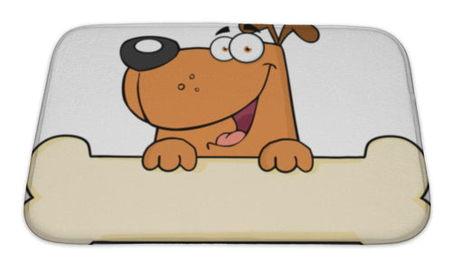 Bath Mat, Cartoon Dog Over Bone-Bath Mat-Bella's PetStor