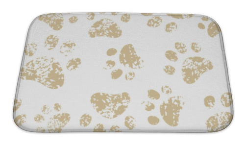 Bath Mat, Cat Or Dog Brown Paw Prints On White Pattern-Bath Mat-Bella's PetStor