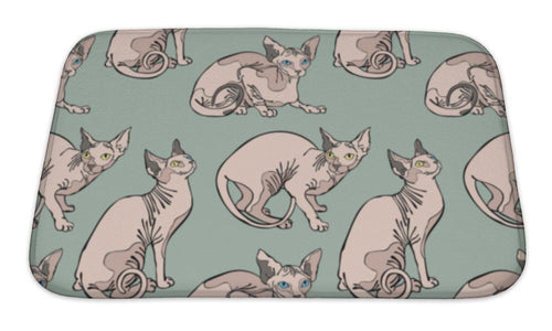 Bath Mat, Cute Cats Hairless Naked Cats Sphynx Cats Pattern-Bath Mat-Bella's PetStor