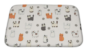 Bath Mat, Funny Cartoon Cats Pattern-Bath Mat-Bella's PetStor