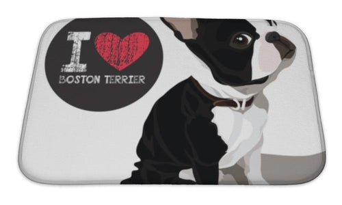 Bath Mat, I Love Boston Terrior-Bath Mat-Bella's PetStor