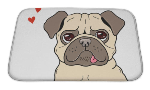 Bath Mat, Illustration Of A Funny Lovely Pug-Bath Mat-Bella's PetStor