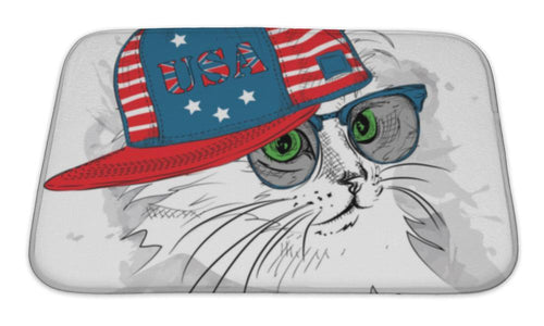 Bath Mat, Illustration Of Cat In The Glasses Headphones And In Hiphop Hat With Print Of-Bath Mat-Bella's PetStor