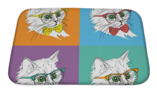 Bath Mat, Image Portrait Of Cat In The Cravat And With Glasses Pop Art Style Illustration-Bath Mat-Bella's PetStor