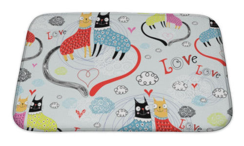 Bath Mat, Pattern Of Cat Lovers-Bath Mat-Bella's PetStor