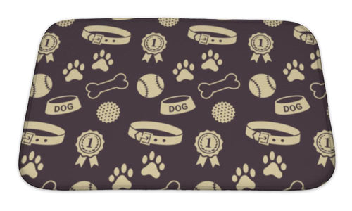 Bath Mat, Pattern With Dogs Stuff Collar Bowl Balls Bones Paw Prints And The Reward-Bath Mat-Bella's PetStor