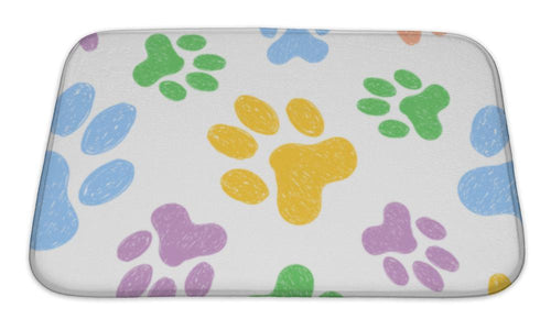 Bath Mat, Pattern With Doodle Dog Paws Colorful Animal Print-Bath Mat-Bella's PetStor