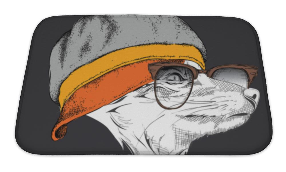 Bath Mat, Portrait Of Fox In Cap Illustration-Bath Mat-Bella's PetStor