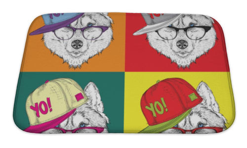 Bath Mat, Portrait Of Husky In Baseball Cap With Glasses Pop Art Style Illustration-Bath Mat-Bella's PetStor