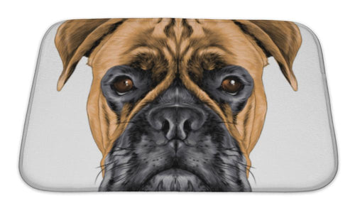 Bath Mat, The Head Of The Dog Breed Boxer Dog Collar C A Sketch Graphics Colored Drawing-Bath Mat-Bella's PetStor