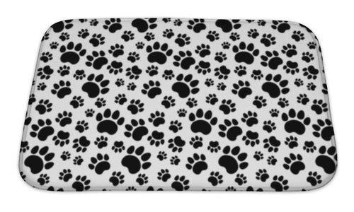 Bath Mat, Traces Of Cat Textile Pattern-Bath Mat-Bella's PetStor