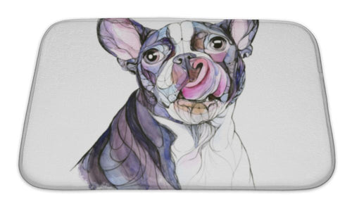 Bath Mat, Watercolor Hand Drawn Boston Terrier Illustration-Bath Mat-Bella's PetStor