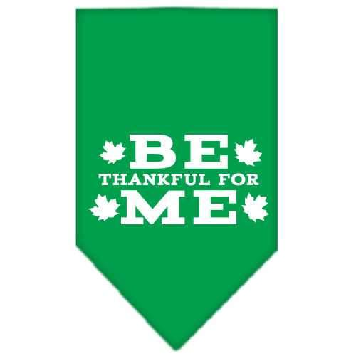 Be Thankful for Me Screen Print Bandana Emerald Green Large-Be thankful for me screen print bandana dog bandanas-Bella's PetStor