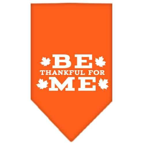 Be Thankful for Me Screen Print Bandana Orange Large-Be thankful for me screen print bandana dog bandanas-Bella's PetStor