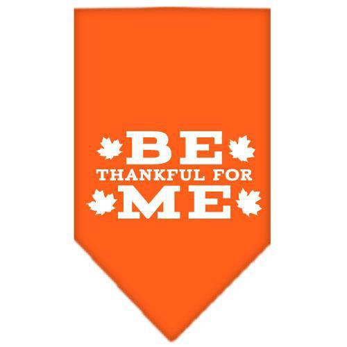 Be Thankful for Me Screen Print Bandana Orange Small-Be thankful for me screen print bandana dog bandanas-Bella's PetStor