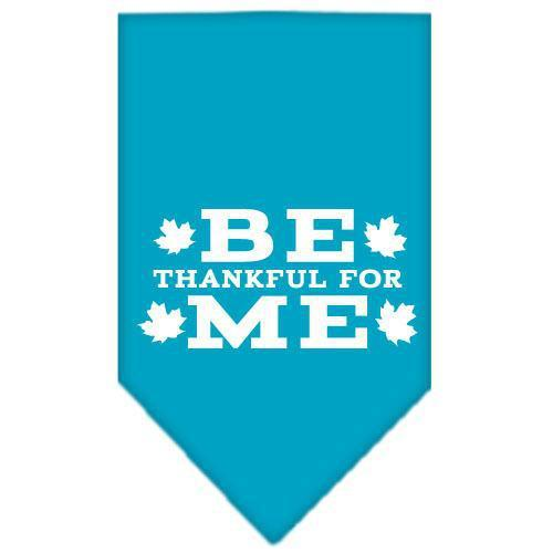Be Thankful for Me Screen Print Bandana Turquoise Large-Be thankful for me screen print bandana dog bandanas-Bella's PetStor