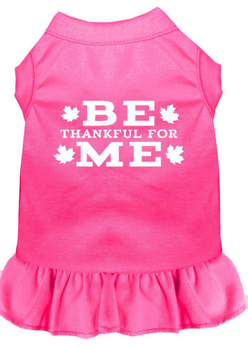 Be Thankful For Me Screen Print Dress Bright Pink-Dog Dresses-Bella's PetStor