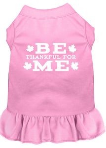 Be Thankful For Me Screen Print Dress Light Pink-Dog Dresses-Bella's PetStor
