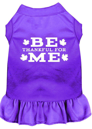 Be Thankful For Me Screen Print Dress Purple-Dog Dresses-Bella's PetStor