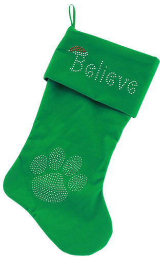 Believe Rhinestone 18 Inch Velvet Christmas Stocking-Christmas-Bella's PetStor