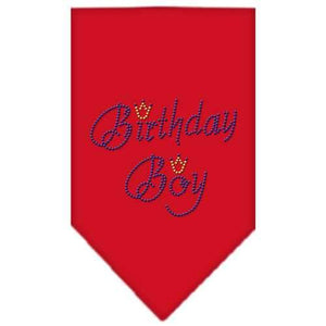 Birthday Boy Rhinestone Bandana Red Large-Birthday boy rhinestone bandana-Bella's PetStor