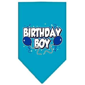 Birthday Boy Screen Print Bandana Turquoise Large-birthday boy screen print bandana-Bella's PetStor