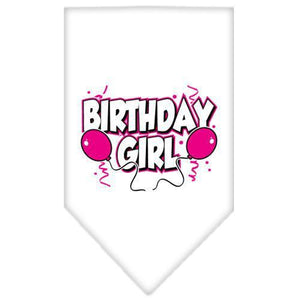 Birthday Girl Screen Print Bandana White Large-birthday girl screen print bandana-Bella's PetStor
