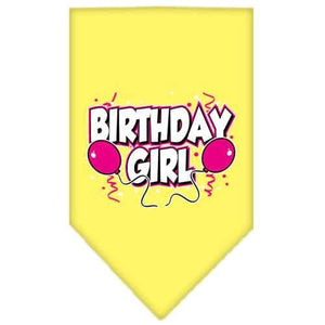 Birthday girl Screen Print Bandana Yellow Large-birthday girl screen print bandana-Bella's PetStor