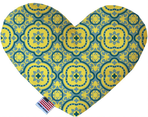 Blue And Yellow Moroccan Patterned Inch Canvas Heart Dog Toy-Made in the USA-Bella's PetStor