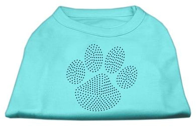 Blue Paw Rhinestud Shirt Aqua-Dog Clothing-Bella's PetStor