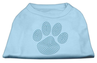 Blue Paw Rhinestud Shirt Baby Blue-Dog Clothing-Bella's PetStor