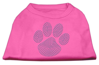 Blue Paw Rhinestud Shirt Bright Pink-Dog Clothing-Bella's PetStor