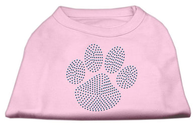Blue Paw Rhinestud Shirt Light Pink-Dog Clothing-Bella's PetStor