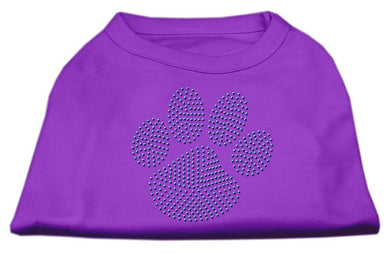 Blue Paw Rhinestud Shirt Purple-Dog Clothing-Bella's PetStor