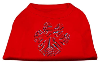 Blue Paw Rhinestud Shirt Red-Dog Clothing-Bella's PetStor