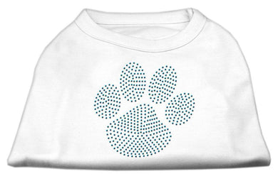Blue Paw Rhinestud Shirt White-Dog Clothing-Bella's PetStor