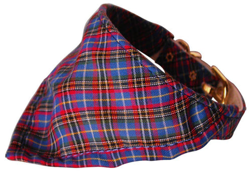 Blue Plaid Bandana Collars Blue-Christmas, Hannakuh-Bella's PetStor