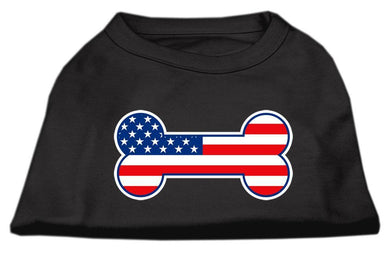 Bone Shaped American Flag Screen Print Shirts Black-Dog Clothing-Bella's PetStor