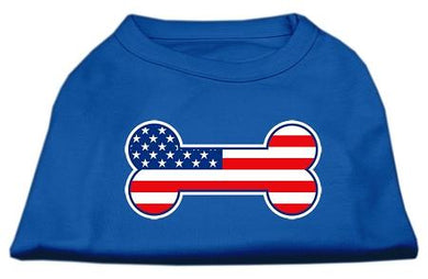 Bone Shaped American Flag Screen Print Shirts Blue-Dog Clothing-Bella's PetStor