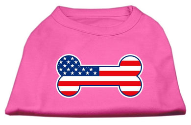 Bone Shaped American Flag Screen Print Shirts Bright Pink-Dog Clothing-Bella's PetStor