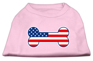 Bone Shaped American Flag Screen Print Shirts Light Pink-Dog Clothing-Bella's PetStor