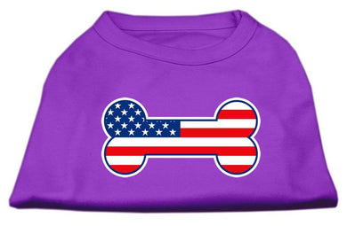 Bone Shaped American Flag Screen Print Shirts Purple-Dog Clothing-Bella's PetStor