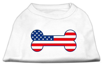 Bone Shaped American Flag Screen Print Shirts White-Dog Clothing-Bella's PetStor