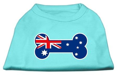 Bone Shaped Australian Flag Screen Print Shirts Aqua-Dog Clothing-Bella's PetStor