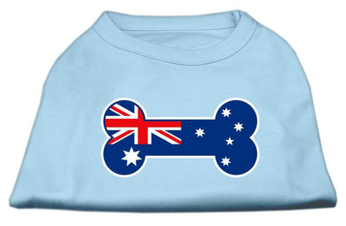 Bone Shaped Australian Flag Screen Print Shirts Baby Blue-Dog Clothing-Bella's PetStor