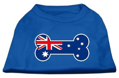 Bone Shaped Australian Flag Screen Print Shirts Blue-Dog Clothing-Bella's PetStor
