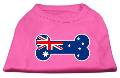 Bone Shaped Australian Flag Screen Print Shirts Bright Pink-Dog Clothing-Bella's PetStor