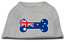 Load image into Gallery viewer, Bone Shaped Australian Flag Screen Print Shirts Grey-Dog Clothing-Bella's PetStor